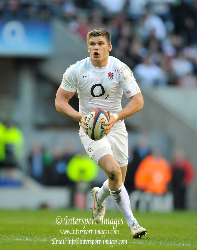 Twickenham, GREAT BRITAIN, England's Owen FARRELL, , during the 2012 Six Nations match, England vs Wales. Played at the RFU Stadium Twickenham, Surrey on Saturday  25/02/2012.  [Photo. Peter Spurrier/Intersport-images]