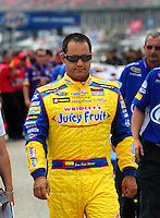 Apr 26, 2008; Talladega, AL, USA; NASCAR Sprint Cup Series driver Juan Pablo Montoya during qualifying for the Aarons 499 at Talladega Superspeedway. Mandatory Credit: Mark J. Rebilas-US PRESSWIRE