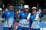 Kim Sang-Hoon, Furukawa Takaharu (JPN) ,Sugimoto Tomomi(JPN)<br /> AUGUST 27, 2018 ? Archery : <br /> Asian games 2018 Jakarta Palembang<br /> Recurve Mixed Team Gold Medal Match, <br /> at The GBK in Jakarta, Indonesia. <br /> (Photo by AFLO)