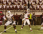 September 21, 2017. Durham, North Carolina.<br /> <br /> South Carolina State QB Dewann Ford Jr. throws a pass. <br /> <br /> The NCCU Eagles won a home game against the the South Carolina State Bulldogs 33-28 at O'Kelly–Riddick Stadium.