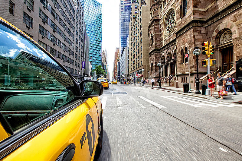 Yellow Cab, Manhattan, New York City, New York, United States of America.