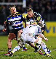 Dominic Day of Bath Rugby takes on the Newcastle Falcons defence. Aviva Premiership match, between Bath Rugby and Newcastle Falcons on March 18, 2016 at the Recreation Ground in Bath, England. Photo by: Patrick Khachfe / Onside Images