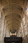 King's College chapel interior with fan vaulting, Cambridge university, Cambridgeshire, England