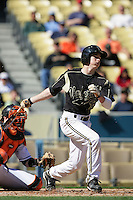 February 28 2010: Mike Yastrzemski of Vanderbilt  during game against Oklahoma State at Dodger Stadium in Los Angeles,CA.  Photo by Larry Goren/Four Seam Images
