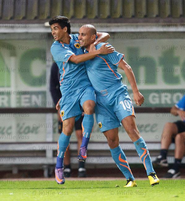 Djebbour Rafic celebrates his goal for AEK with Socco Ignacio