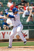 Round Rock Express SS Luis Cruz (7) at bat against the Iowa Cubs on April 10th, 2011 at Dell Diamond in Round Rock, Texas.  (Photo by Andrew Woolley / Four Seam Images)