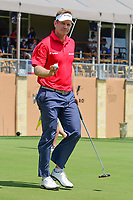 Billy Hurley III (USA) sinks his putt on 18 during round 2 of the Valero Texas Open, AT&amp;T Oaks Course, TPC San Antonio, San Antonio, Texas, USA. 4/21/2017.<br /> Picture: Golffile | Ken Murray<br /> <br /> <br /> All photo usage must carry mandatory copyright credit (&copy; Golffile | Ken Murray)