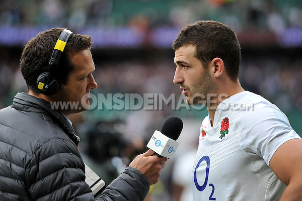 Jonny May of England is interviewed after the match. QBE International match between England and Ireland on September 5, 2015 at Twickenham Stadium in London, England. Photo by: Patrick Khachfe / Onside Images