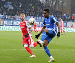 01.12.2018, Stadion an der Wuhlheide, Berlin, GER, 2.FBL, 1.FC UNION BERLIN  VS.SV Darmstadt 98, <br /> DFL  regulations prohibit any use of photographs as image sequences and/or quasi-video<br /> im Bild Marcel Hartel (1.FC Union Berlin #7), Joevin Jones (Darmstadt #3)<br /> <br /> <br />      <br /> Foto &copy; nordphoto / Engler