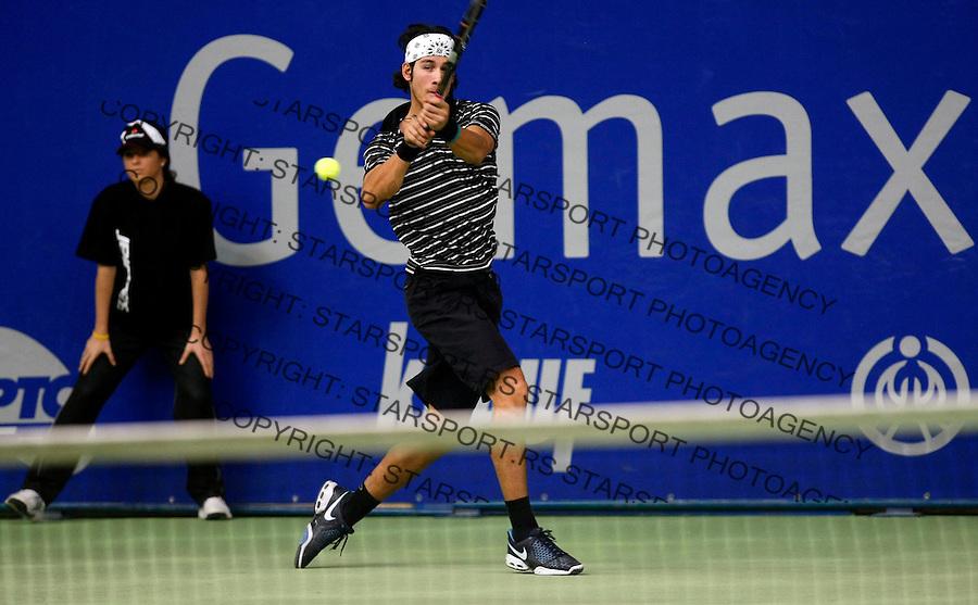 Tennis.Gemax Open 2010.Ilija Bozoljac Vs. Andrey Golubev (KAZ).Ilija Bozoljac returnes.Belgrade, 19.02.2010..foto: Srdjan Stevanovic©