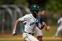 Dartmouth Big Green Blake Crossing (13) runs to first base during a game against the Omaha Mavericks on February 23, 2020 at North Charlotte Regional Park in Port Charlotte, Florida.  Dartmouth defeated Omaha 8-1.  (Mike Janes/Four Seam Images)