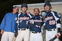 23 October 2010: Christopher Morel, Chris Goniot, Fabien Morel, Pierrick Lemestre of Savigny are seen during Savigny 8-7 win (in 12 innings) over Rouen, during game 3 of the French championship finals, in Rouen, France.