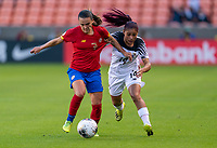 HOUSTON, TX - JANUARY 28: Melissa Herrera #7 of Costa Rica fights for the ball with Maryorie Perez #14 of Panama during a game between Costa Rica and Panama at BBVA Stadium on January 28, 2020 in Houston, Texas.