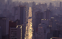 Aerial view of buildings and avenue in Sao Paulo, Brazil - reinforced concrete city, urban landscape.