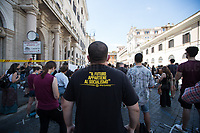"""Rome, 27/06/2020. Today, thousands of Show, Art and Culture Workers' held a national demonstration in Piazza Santi Apostoli (1.) to protest against the very precarious situation of their industry after Covid-19/Coronavirus pandemic emergency. From the Organiser (2.) Facebook event page: «[…] We are the workers of art, entertainment and culture. We took to the square on May 30th in 15 Italian cities. Despite the launch of the local institutional dialogue in several Italian regions, still no response has come from national and ministerial institutions. Four months after the start of the lockdown, our condition has not changed: the """"restart"""" announced for June 15 actually creates new inequalities and excludes most of the realities that produce art, culture and entertainment in our country. […] We are workers, associations, companies of the entertainment and culture, gathered in national and territorial realities that are recognized in the art. 4, 9, 33, of the Italian Constitution, in the ethical culture of work, in its duties and in its rights. We are convinced that culture is a fundamental tool for the recovery of the nation. Culture is """"common good"""" and for this we must be listened to […]».<br /> <br /> Footnotes & Links:<br /> 1. http://bit.do/fGekT<br /> 2. http://bit.do/fGekX"""