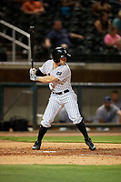Birmingham Barons right fielder Ryan Brett (15) at bat during a game against the Pensacola Blue Wahoos on May 8, 2018 at Regions FIeld in Birmingham, Alabama.  Birmingham defeated Pensacola 5-2.  (Mike Janes/Four Seam Images)