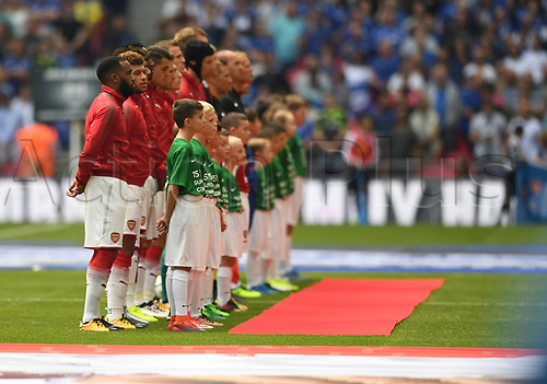 August 6th 2017, Wembley Stadium, London, England; FA Community Shield Final; Arsenal versus Chelsea; Teams line up before kick off