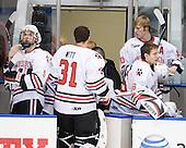 Garrett Vermeersch (Northeastern - 9), Clay Witt (Northeastern - 31), Steve Quailer (Northeastern - 10), Bryan Mountain (Northeastern - 46) - The visiting Merrimack College Warriors defeated the Northeastern University Huskies 4-3 (OT) on Friday, February 4, 2011, at Matthews Arena in Boston, Massachusetts.