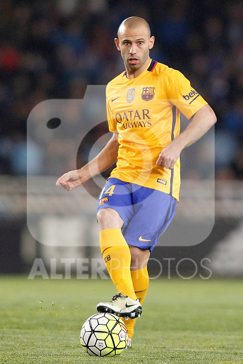 FC Barcelona's Javier Mascherano during La Liga match. April 9,2016. (ALTERPHOTOS/Acero)