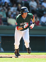 Outfielder Drew Turocy (28) of the Greenville Drive in a game against the West Virginia Power on May 20, 2012, at Fluor Field at the West End in Greenville, South Carolina. Greenville won 6-5. (Tom Priddy/Four Seam Images)