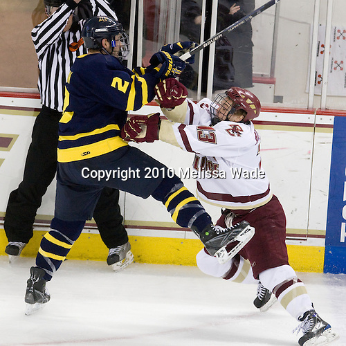 Fraser Allan (Merrimack - 2), Cam Atkinson (BC - 13) - The Boston College Eagles defeated the Merrimack College Warriors 7-0 on Tuesday, February 23, 2010 at Conte Forum in Chestnut Hill, Massachusetts.