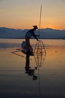 Traditional fisherman on Inle lake, Shan State, Myanmar/Burma