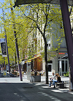 Jugendstilhäuser in der Fußgängerzone Rie d'Alzette in Esch-sur-Alzette, Luxemburg