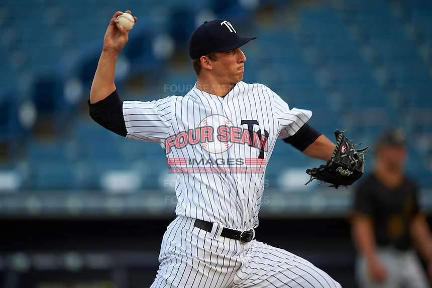 Tampa Yankees starting pitcher James Kaprielian (18) delivers a pitch during a game against the Bradenton Marauders on April 11, 2016 at George M. Steinbrenner Field in Tampa, Florida.  Tampa defeated Bradenton 5-2.  (Mike Janes/Four Seam Images)