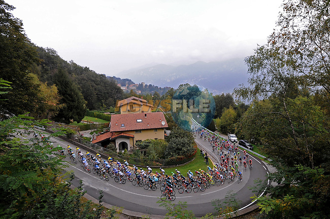 The peloton in action during the 2014 Tour of Lombardy, Race of the falling leaves, Como, Italy. 5th October 2014.<br /> Photo: Fabio Ferrari/LaPresse/Newsfile