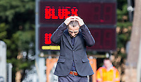 Wycombe Wanderers Manager Gareth Ainsworth holds his head in despair during the Sky Bet League 2 match between Wycombe Wanderers and Barnet at Adams Park, High Wycombe, England on 16 April 2016. Photo by Andy Rowland.