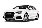 Stock pictures of low aggressive front three quarter view of 2017 Audi A3 S-Line 4 Door Sedan Low Aggressive