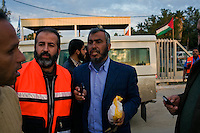 Rafah, Gaza strip, Jan 11, 2009.Hamas spokesman Wouasi Hamad discusses with Egyptian border authorities details of the evacuation of wounded civilians from the Gaza strip through the Rafah crossing into Egypt where they will be treated.