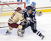 Pat Mullane (BC - 11), Scott Pavelski (UNH - 11), Casey DeSmith (UNH - 29) - The Boston College Eagles defeated the visiting University of New Hampshire Wildcats 4-3 on Friday, January 27, 2012, in the first game of a back-to-back home and home at Kelley Rink/Conte Forum in Chestnut Hill, Massachusetts.