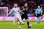 Sergio Ramos of Spain (L) fights for the ball with Gonzalo Higuain of Argentina (R) during the International Friendly 2018 match between Spain and Argentina at Wanda Metropolitano Stadium on 27 March 2018 in Madrid, Spain. Photo by Diego Souto / Power Sport Images