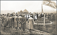 BNPS.co.uk (01202 558833)<br /> Pic: Pen&amp;Sword/BNPS<br /> <br /> Dedication ceremony at Bailleul British Military Cemetery, on All Saints&rsquo; Day (1 November) 1915. Three British army chaplains lead the assembled of cers and men in a hymn. Nurses can be seen standing behind the soldiers on the left-hand side.<br /> <br /> A poignant collection of images which were taken by a photographer who documented the graves of fallen soldiers on the Western Front have come to light in a new book.<br /> <br /> Ivan Bawtree was one of only three professional photographers assigned to the the Graves Registration Units to photograph and record the graves of fallen First World War soldiers on behalf of grieving relatives. <br /> <br /> His powerful photos of northern France and Flanders are a haunting reminder of the horrors of war and a fascinating insight into the early work of the Imperial War Graves Commission. <br /> <br /> Prior to the First World War, the casualties of war were generally buried in unmarked mass graves.