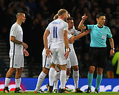 5th October 2017, Hampden Park, Glasgow, Scotland; FIFA World Cup Qualification, Scotland versus Slovakia;  Slovakian players remonstrate with the referee