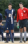02 December 2007: West Virginia's Jason Bristol (2) and Zach Johnson (1). The Wake Forest University Demon Deacons defeated the West Virginia University Mountaineers 3-1 at W. Dennie Spry Soccer Stadium in Winston-Salem, North Carolina in a Third Round NCAA Division I Mens Soccer Tournament game.