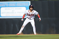 Carlos Baerga Jr. (2) of the Danville Braves takes his lead off of first base against the Bristol Pirates at American Legion Post 325 Field on July 1, 2018 in Danville, Virginia. The Braves defeated the Pirates 3-2 in 10 innings. (Brian Westerholt/Four Seam Images)