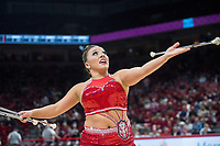 NWA Democrat-Gazette/BEN GOFF @NWABENGOFF<br /> Savannah Miller, University of Arkansas feature baton twirler from Kansas City, Mo., performs Saturday, Dec. 8, 2018, during halftime in the Arkansas vs Western Kentucky men's basketball game at Bud Walton Arena in Fayetteville.