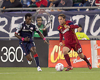 Real Salt Lake midfielder Ned Grabavoy (20) moves forward as New England Revolution midfielder Kenny Mansally (7) closes. Real Salt Lake defeated the New England Revolution, 2-1, at Gillette Stadium on October 2, 2010.