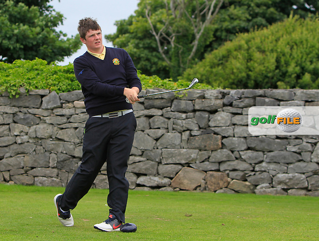 Jake Vickers (Balbriggan) on the 1st tee during R2 of the 2016 Connacht U18 Boys Open, played at Galway Golf Club, Galway, Galway, Ireland. 06/07/2016. <br /> Picture: Thos Caffrey | Golffile<br /> <br /> All photos usage must carry mandatory copyright credit   (&copy; Golffile | Thos Caffrey)