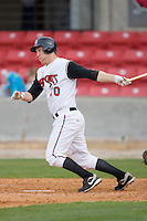 Todd Frazier #30 of the Carolina Mudcats follows through on his swing versus the Jacksonville Suns at Five County Stadium May 18, 2009 in Zebulon, North Carolina. (Photo by Brian Westerholt / Four Seam Images)