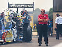 May 31, 2019; Joliet, IL, USA; Don Schumacher, team owner for NHRA top fuel driver Antron Brown during qualifying for the Route 66 Nationals at Route 66 Raceway. Mandatory Credit: Mark J. Rebilas-USA TODAY Sports