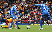 Murray Davidson intercepting to allow Michael Duberry to clear