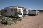 Mobile home vehicles in camp site, Ait-Benhaddou, Morocco