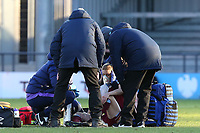 Kate Longhurst of West Ham United women receives treatment including oxygen during Tottenham Hotspur Women vs West Ham United Women, Barclays FA Women's Super League Football at the Hive Stadium on 12th January 2020