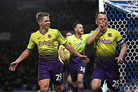 Jake Taylor of Exeter City right celebrates scoring the first goal during Portsmouth vs Exeter City, Leasing.com Trophy Football at Fratton Park on 18th February 2020