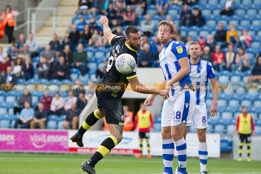 Ollie Palmer of Crawley Town fails to make contact under pressure from Tom Eastman of Colchester United as the victors pressed for an equaliser during Colchester United vs Crawley Town, Sky Bet EFL League 2 Football at the JobServe Community Stadium on 13th October 2018