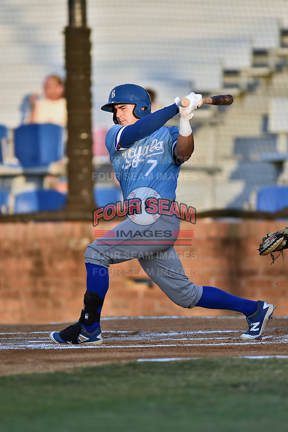 Burlington Royals catcher Nathan Esposito (7) swings at a pitch during Game Two of the Appalachian League Championship series against the Johnson City Cardinals at TVA Credit Union Ballpark on September 7, 2016 in Johnson City, Tennessee. The Cardinals defeated the Royals 11-6 to win the series 2-0.. (Tony Farlow/Four Seam Images)
