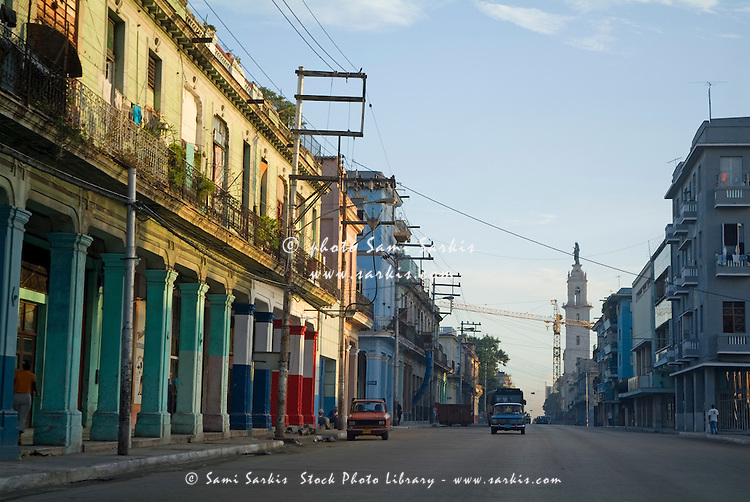 Deserted early morning street scene in Havana, Cuba.
